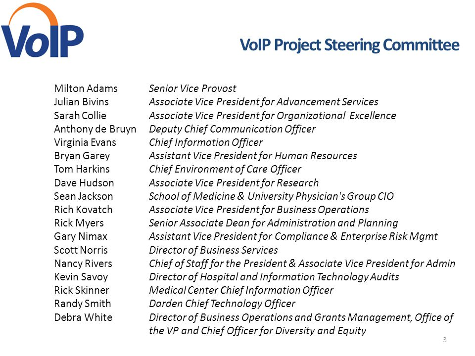 3 VoIP Project Steering Committee Milton AdamsSenior Vice Provost Julian BivinsAssociate Vice President for Advancement Services Sarah CollieAssociate