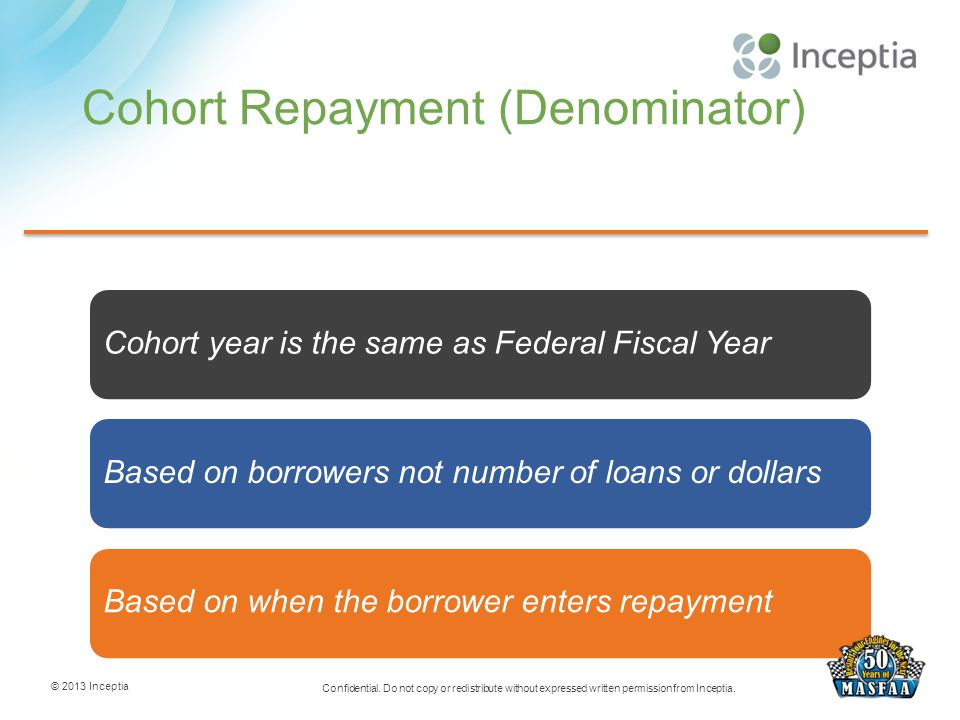 Cohort Repayment (Denominator) © 2013 Inceptia Confidential. Do not copy or redistribute without expressed written permission from Inceptia. 10 Cohort