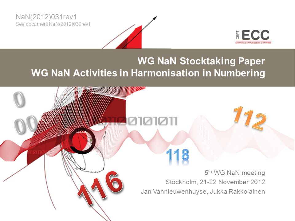 WG NaN Stocktaking Paper WG NaN Activities in Harmonisation in Numbering 5 th WG NaN meeting Stockholm, 21-22 November 2012 Jan Vannieuwenhuyse, Jukka Rakkolainen NaN(2012)031rev1 See document NaN(2012)030rev1