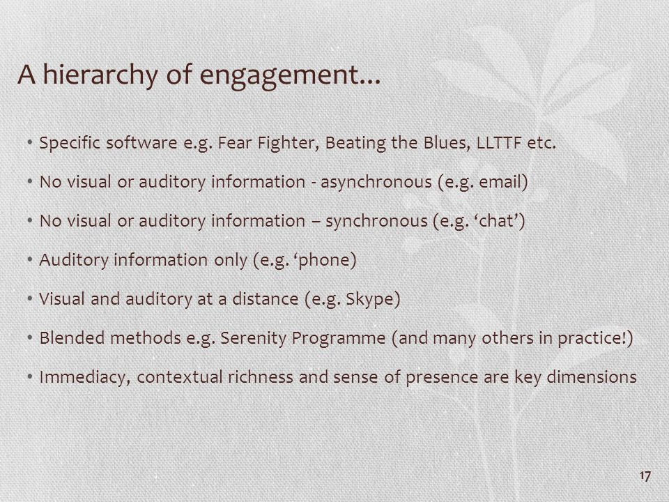 A hierarchy of engagement... Specific software e.g.