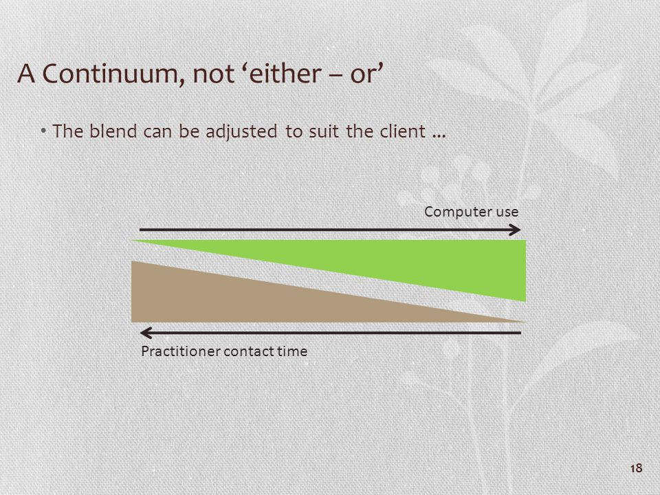 A Continuum, not either – or The blend can be adjusted to suit the client...