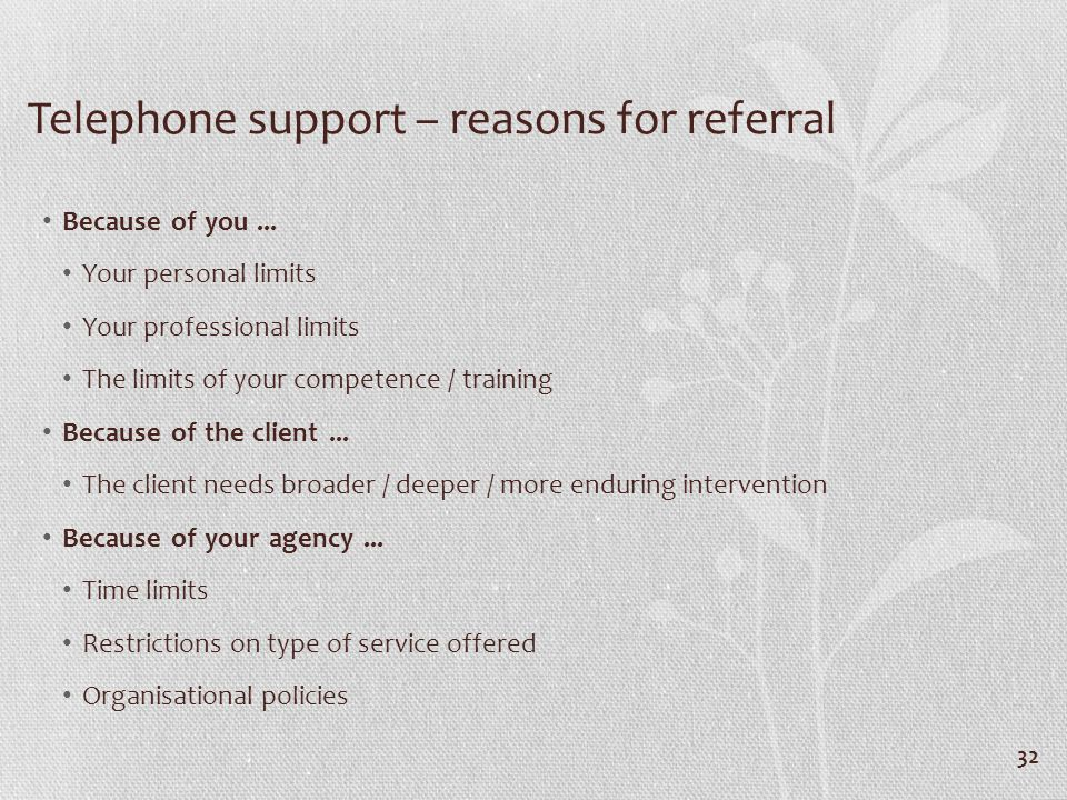 Telephone support – reasons for referral Because of you...