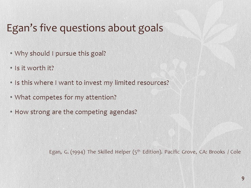 Egans five questions about goals Why should I pursue this goal.
