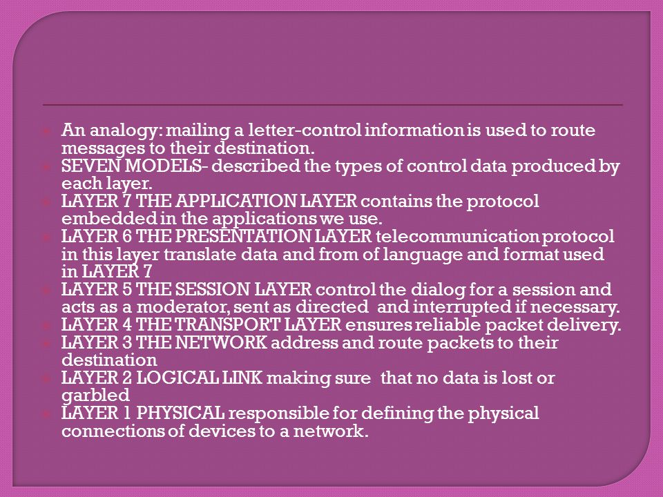 An analogy: mailing a letter-control information is used to route messages to their destination. SEVEN MODELS- described the types of control data pro