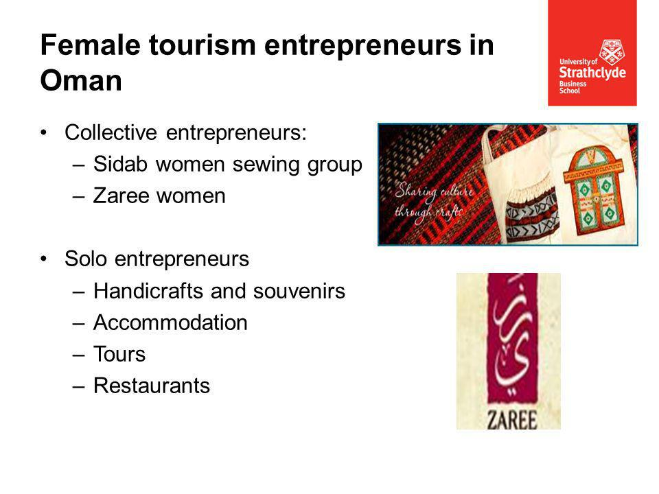 Collective entrepreneurs: –Sidab women sewing group –Zaree women Solo entrepreneurs –Handicrafts and souvenirs –Accommodation –Tours –Restaurants Female tourism entrepreneurs in Oman