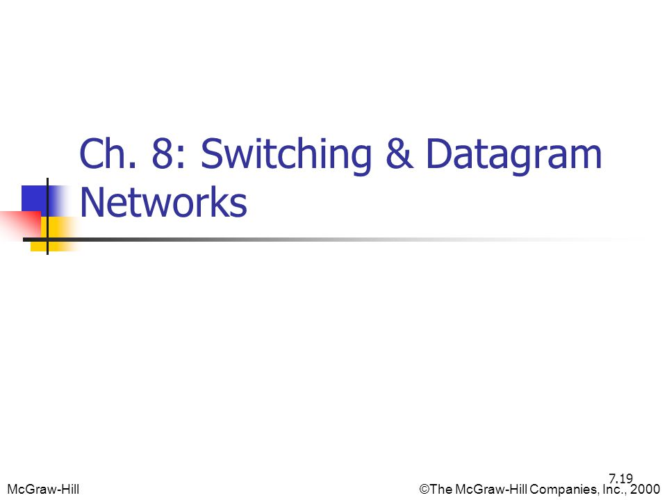 McGraw-Hill©The McGraw-Hill Companies, Inc., 2000 Ch. 8: Switching & Datagram Networks 7.19