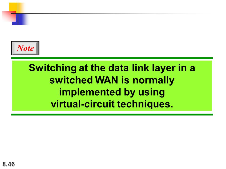 8.46 Switching at the data link layer in a switched WAN is normally implemented by using virtual-circuit techniques. Note