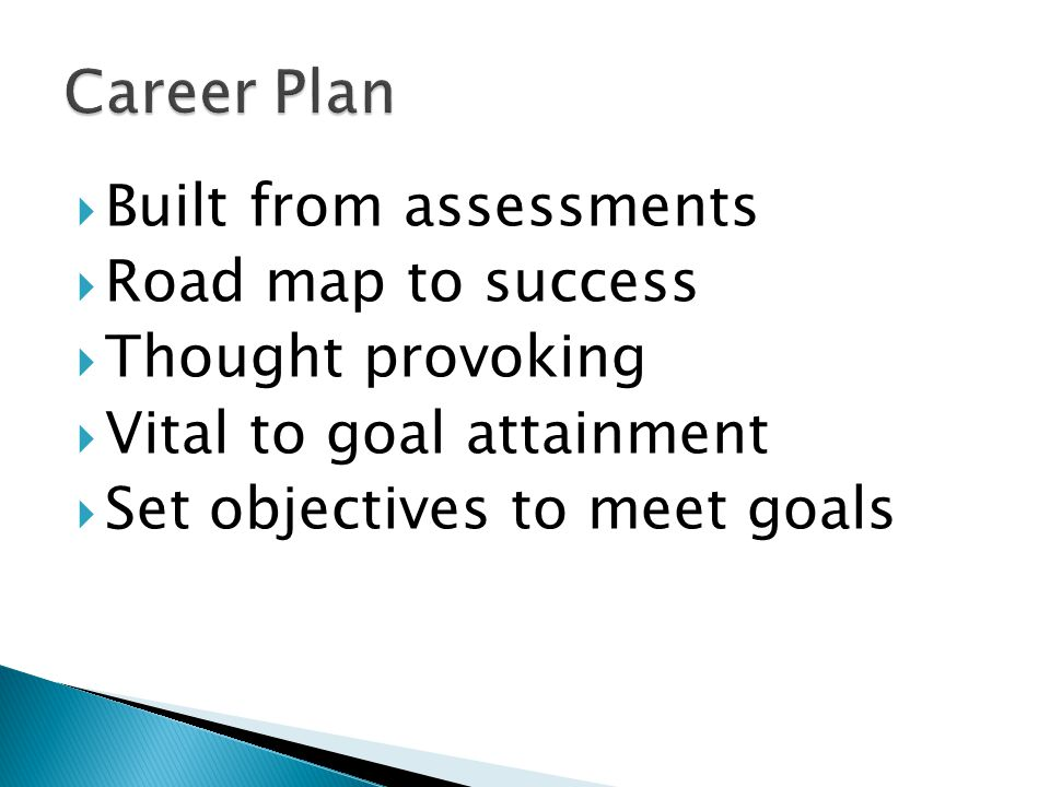 Built from assessments Road map to success Thought provoking Vital to goal attainment Set objectives to meet goals
