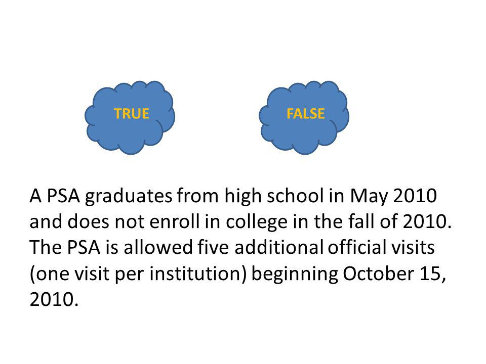 A PSA graduates from high school in May 2010 and does not enroll in college in the fall of 2010. The PSA is allowed five additional official visits (o