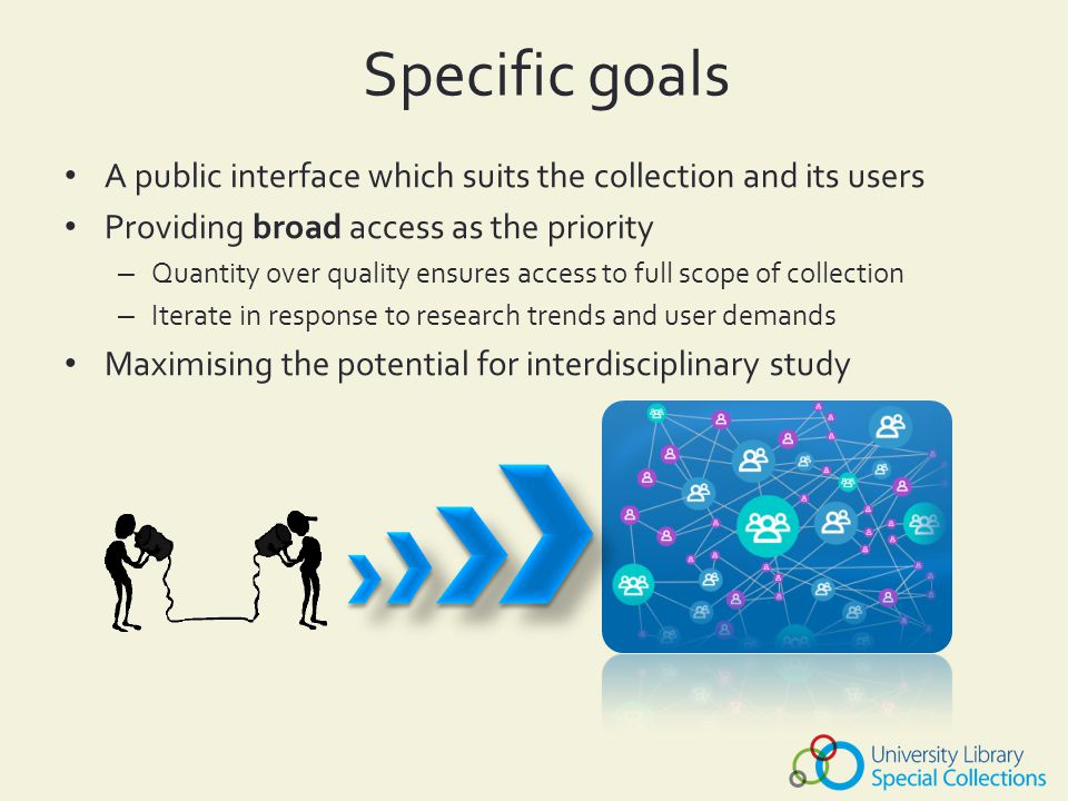 Specific goals A public interface which suits the collection and its users Providing broad access as the priority – Quantity over quality ensures access to full scope of collection – Iterate in response to research trends and user demands Maximising the potential for interdisciplinary study
