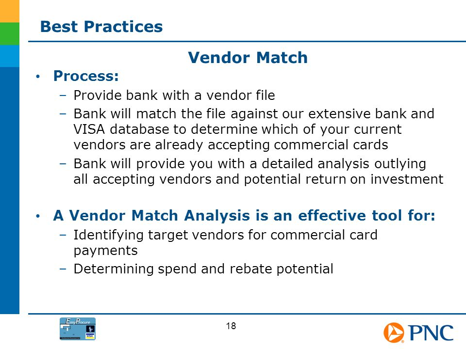 Process: –Provide bank with a vendor file –Bank will match the file against our extensive bank and VISA database to determine which of your current ve