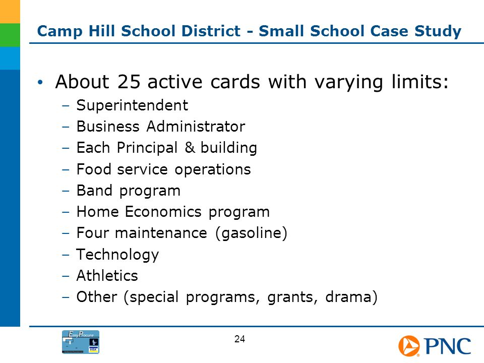 Camp Hill School District - Small School Case Study About 25 active cards with varying limits: –Superintendent –Business Administrator –Each Principal