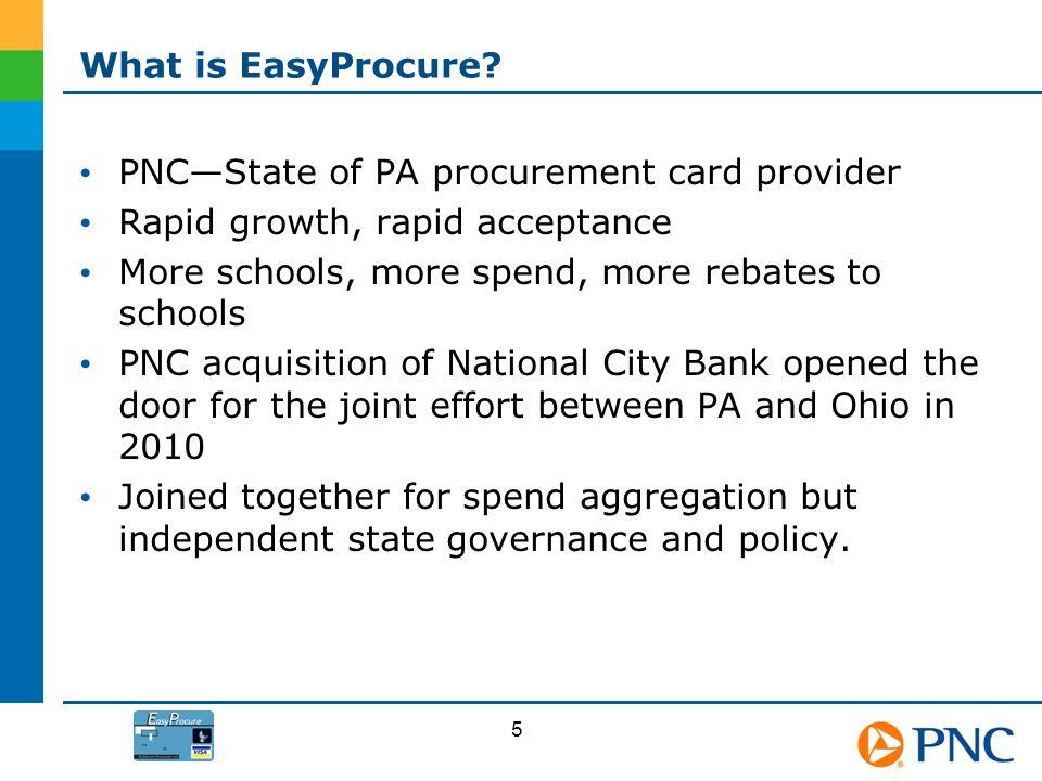 What is EasyProcure? PNCState of PA procurement card provider Rapid growth, rapid acceptance More schools, more spend, more rebates to schools PNC acq