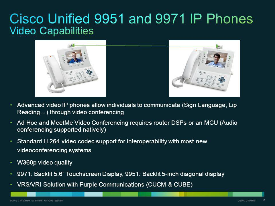 © 2012 Cisco and/or its affiliates. All rights reserved. Cisco Confidential 12 Advanced video IP phones allow individuals to communicate (Sign Languag