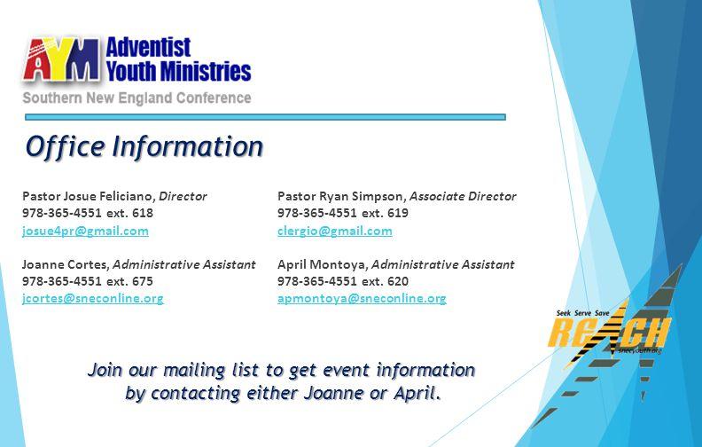 Pastor Josue Feliciano, DirectorPastor Ryan Simpson, Associate Director 978-365-4551 ext. 618978-365-4551 ext. 619 josue4pr@gmail.comclergio@gmail.com