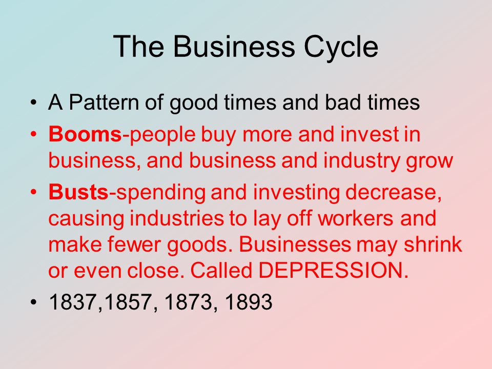 The Business Cycle A Pattern of good times and bad times Booms-people buy more and invest in business, and business and industry grow Busts-spending and investing decrease, causing industries to lay off workers and make fewer goods.