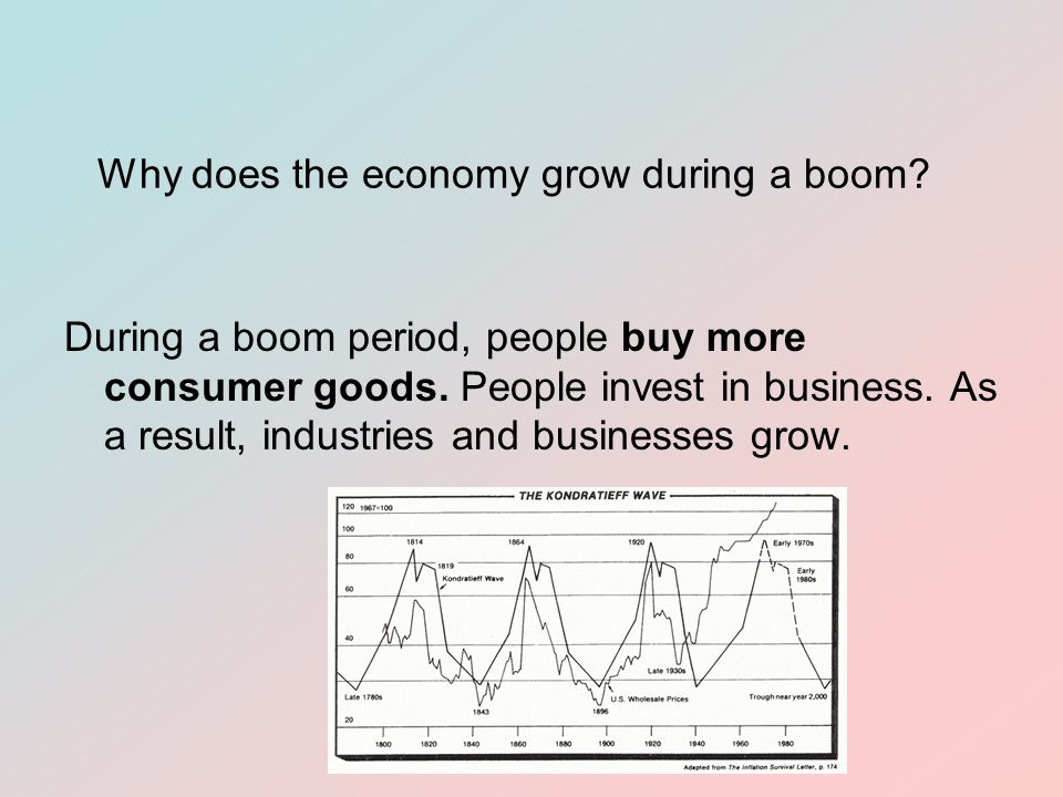 Why does the economy grow during a boom. During a boom period, people buy more consumer goods.