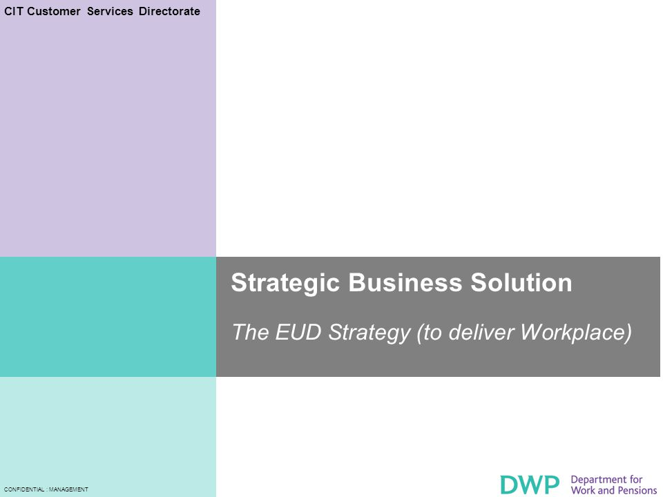 CIT Customer Services Directorate CONFIDENTIAL : MANAGEMENT Strategic Business Solution The EUD Strategy (to deliver Workplace)