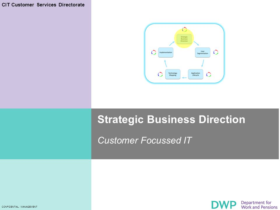 CIT Customer Services Directorate CONFIDENTIAL : MANAGEMENT Strategic Business Direction Customer Focussed IT