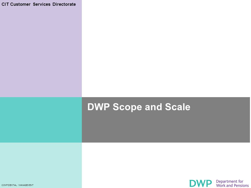 CIT Customer Services Directorate CONFIDENTIAL : MANAGEMENT DWP Scope and Scale