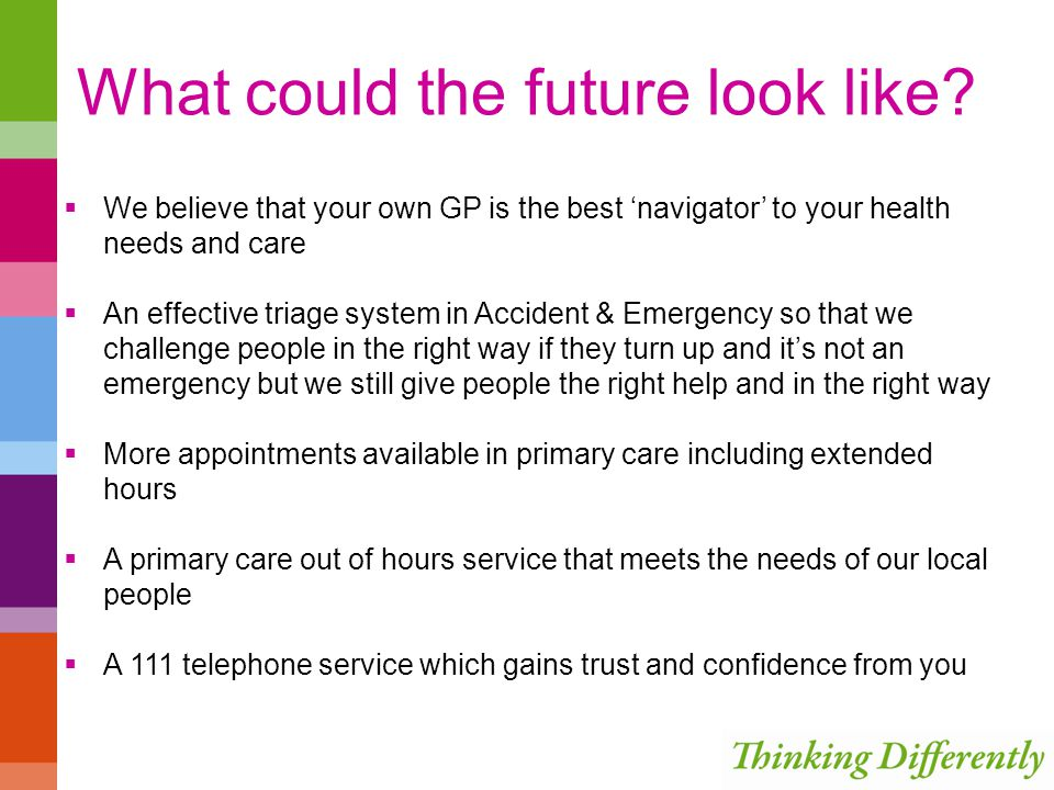 What could the future look like? We believe that your own GP is the best navigator to your health needs and care An effective triage system in Acciden