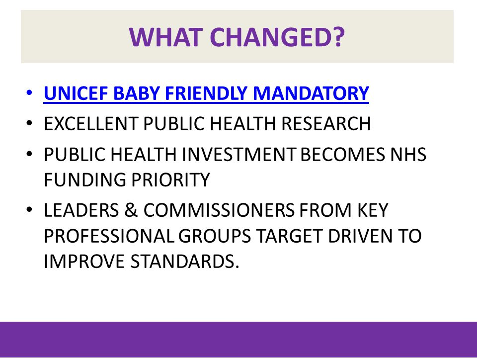 WHAT CHANGED? UNICEF BABY FRIENDLY MANDATORY EXCELLENT PUBLIC HEALTH RESEARCH PUBLIC HEALTH INVESTMENT BECOMES NHS FUNDING PRIORITY LEADERS & COMMISSI