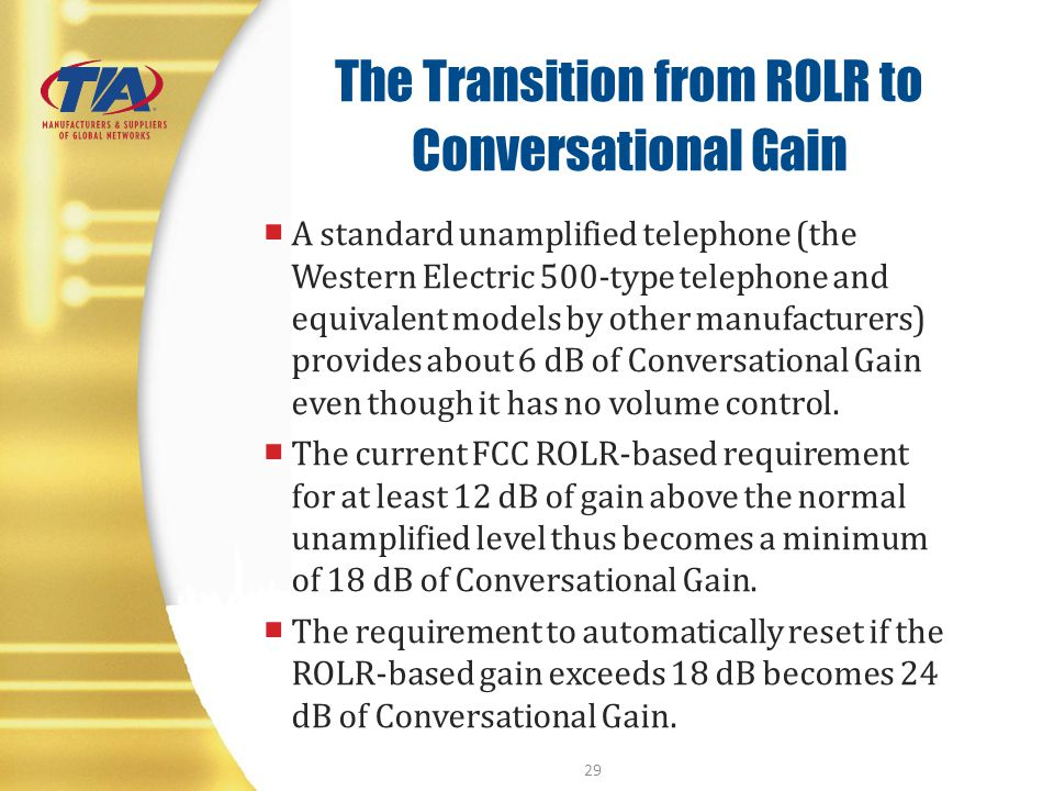 The Transition from ROLR to Conversational Gain A standard unamplified telephone (the Western Electric 500-type telephone and equivalent models by oth