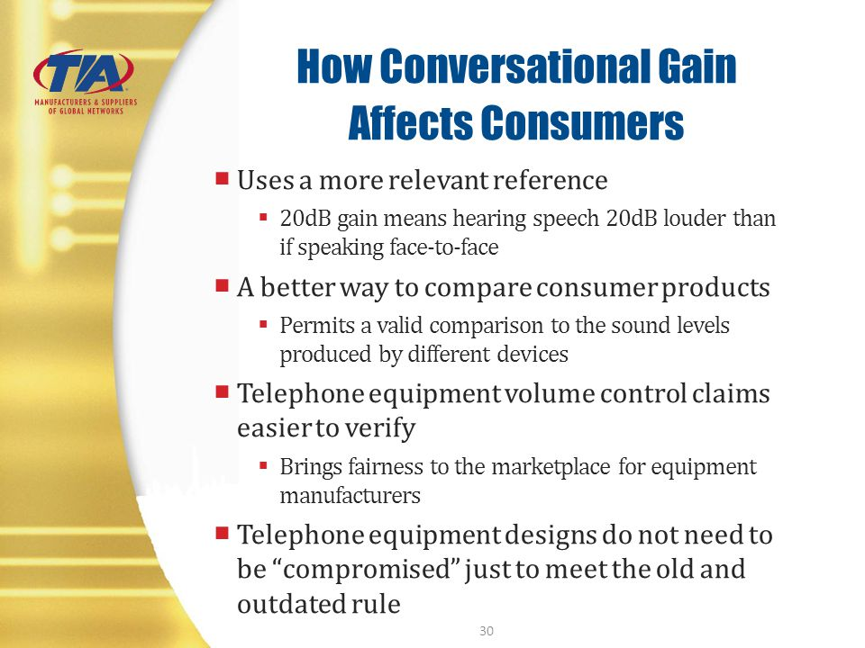How Conversational Gain Affects Consumers Uses a more relevant reference 20dB gain means hearing speech 20dB louder than if speaking face-to-face A be