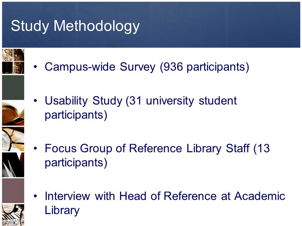 Study Methodology Campus-wide Survey (936 participants) Usability Study (31 university student participants) Focus Group of Reference Library Staff (13 participants) Interview with Head of Reference at Academic Library