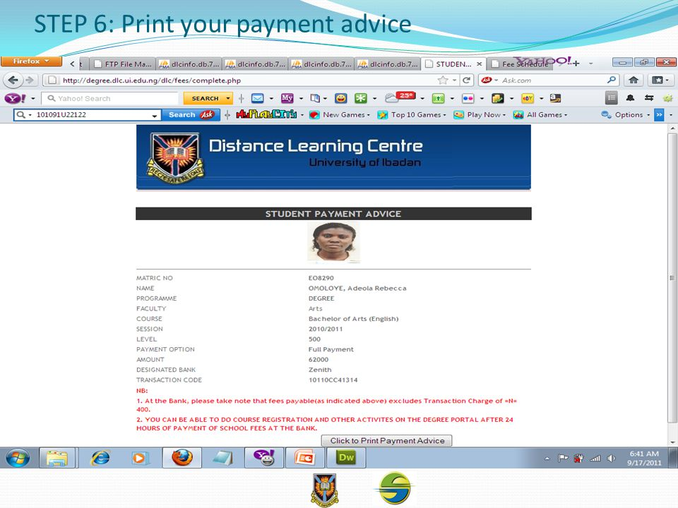 STEP 6: Print your payment advice
