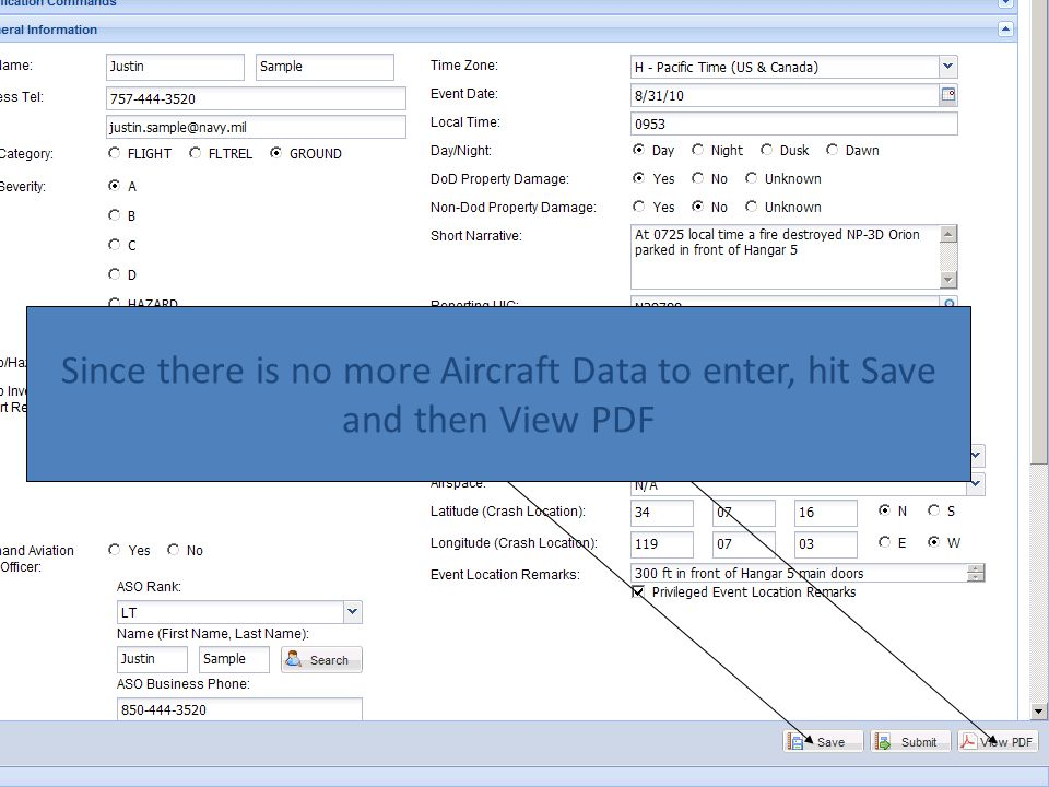 Since there is no more Aircraft Data to enter, hit Save and then View PDF