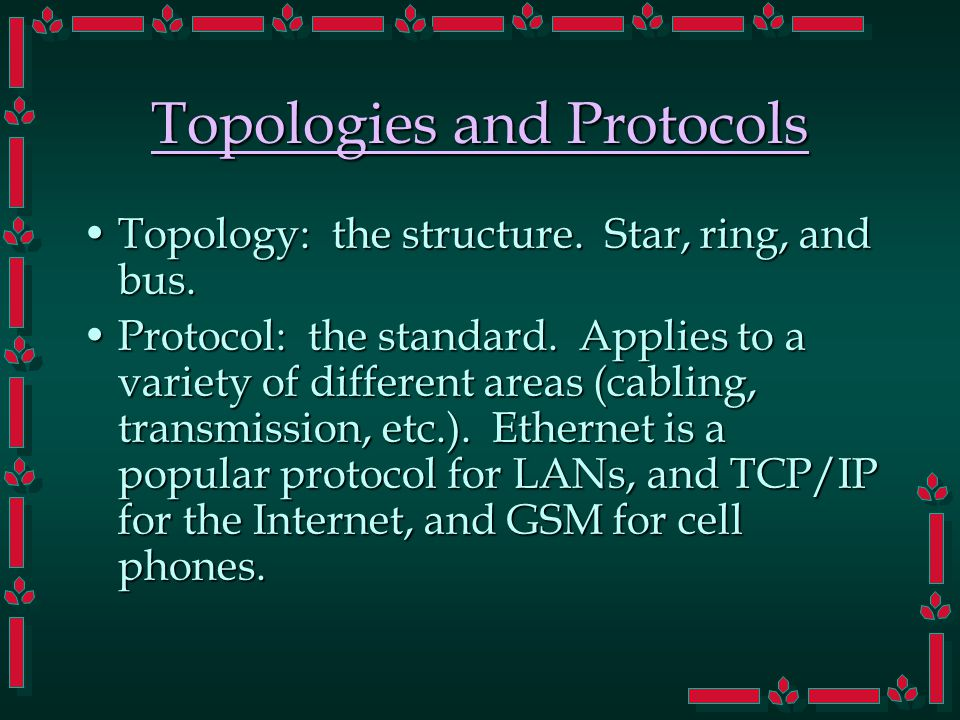 Topologies and Protocols Topology: the structure. Star, ring, and bus.Topology: the structure.