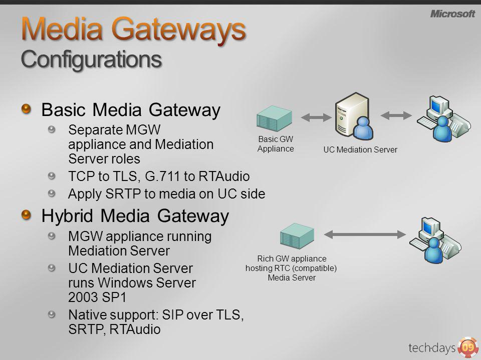 Basic Media Gateway Separate MGW appliance and Mediation Server roles TCP to TLS, G.711 to RTAudio Apply SRTP to media on UC side Hybrid Media Gateway