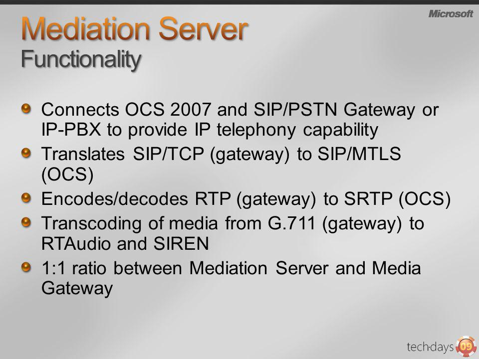 Connects OCS 2007 and SIP/PSTN Gateway or IP-PBX to provide IP telephony capability Translates SIP/TCP (gateway) to SIP/MTLS (OCS) Encodes/decodes RTP