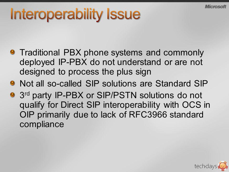 Traditional PBX phone systems and commonly deployed IP-PBX do not understand or are not designed to process the plus sign Not all so-called SIP soluti