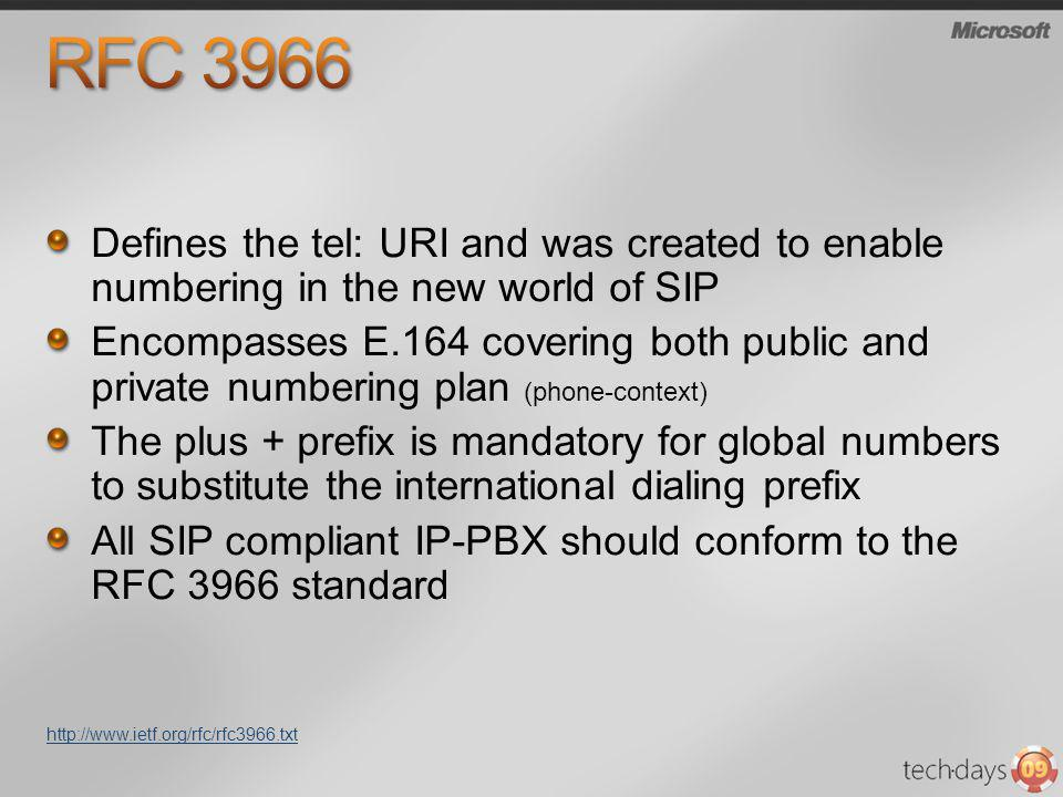 Defines the tel: URI and was created to enable numbering in the new world of SIP Encompasses E.164 covering both public and private numbering plan (ph