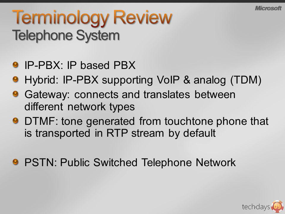 IP-PBX: IP based PBX Hybrid: IP-PBX supporting VoIP & analog (TDM) Gateway: connects and translates between different network types DTMF: tone generat