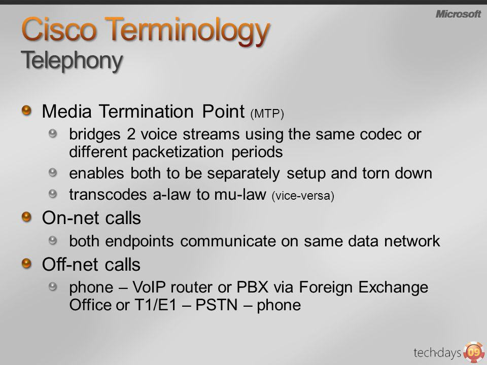 Media Termination Point (MTP) bridges 2 voice streams using the same codec or different packetization periods enables both to be separately setup and
