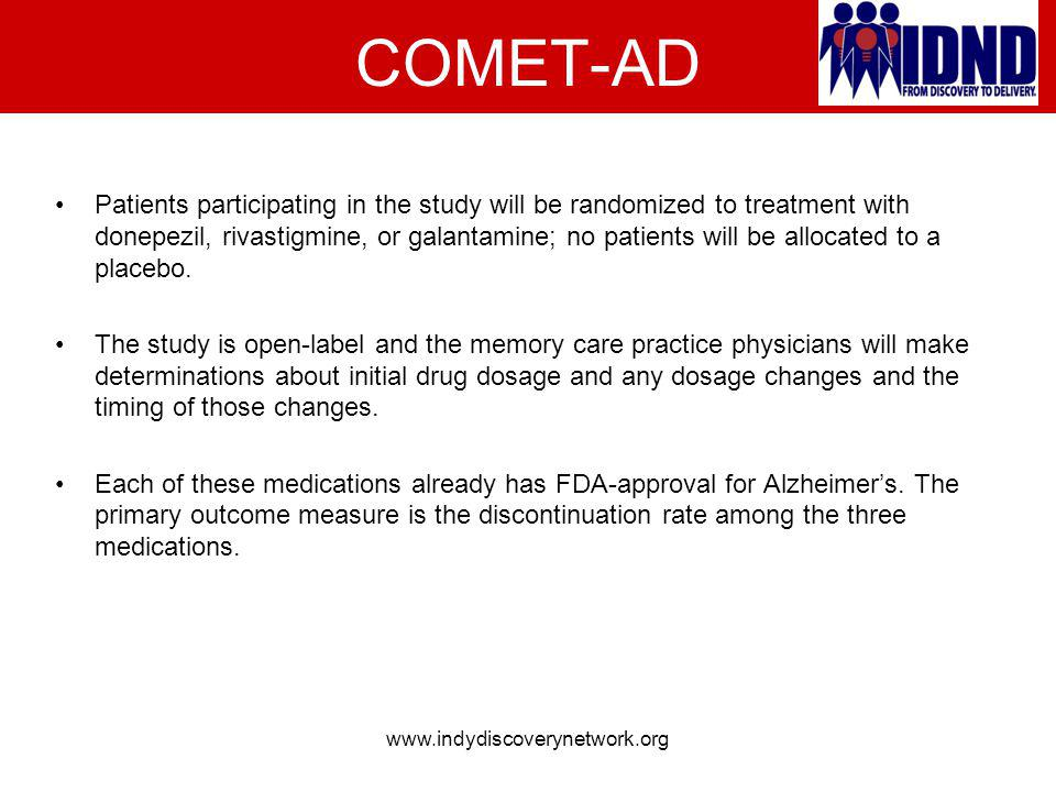 COMET-AD Patients participating in the study will be randomized to treatment with donepezil, rivastigmine, or galantamine; no patients will be allocat