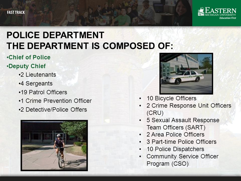 POLICE DEPARTMENT THE DEPARTMENT IS COMPOSED OF: Chief of Police Deputy Chief 2 Lieutenants 4 Sergeants 19 Patrol Officers 1 Crime Prevention Officer