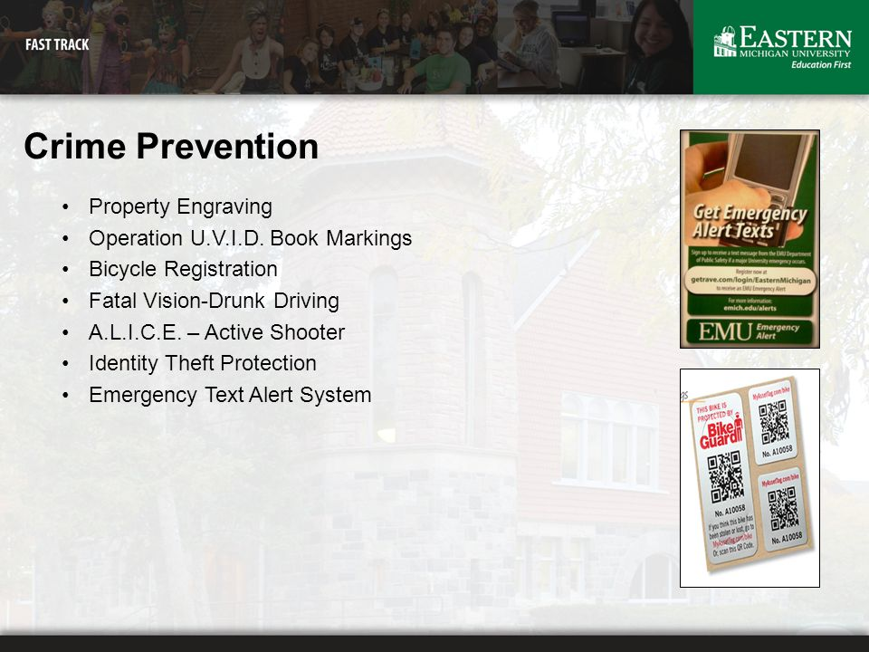 Crime Prevention Property Engraving Operation U.V.I.D. Book Markings Bicycle Registration Fatal Vision-Drunk Driving A.L.I.C.E. – Active Shooter Ident