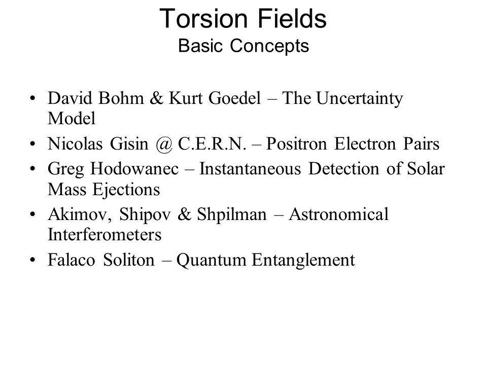 Torsion Fields Basic Concepts David Bohm & Kurt Goedel – The Uncertainty Model Nicolas Gisin @ C.E.R.N. – Positron Electron Pairs Greg Hodowanec – Ins