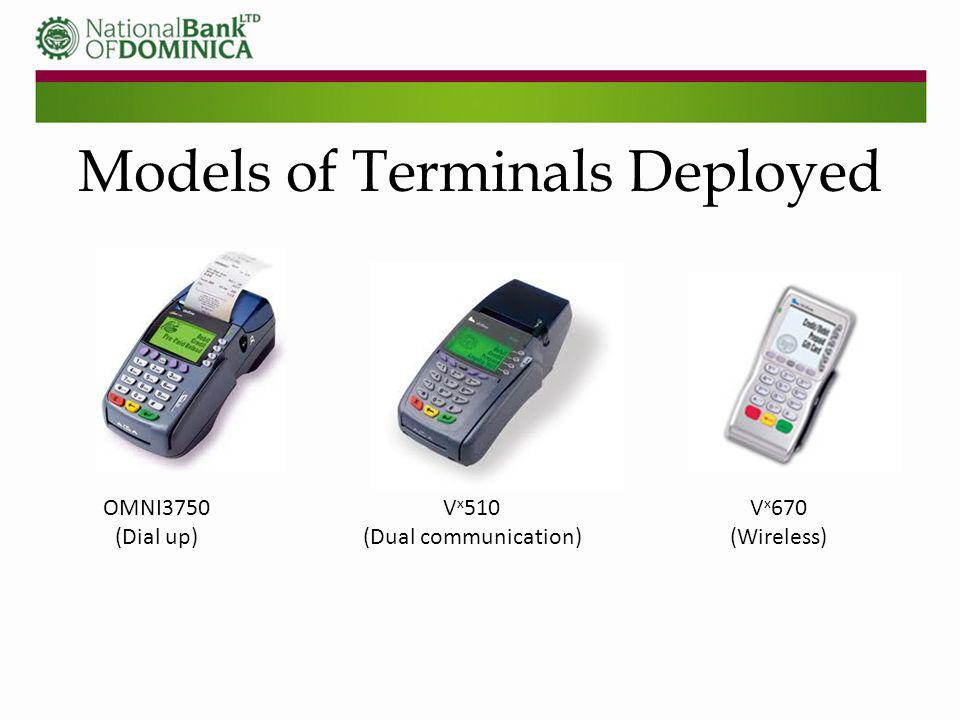 Models of Terminals Deployed OMNI3750 (Dial up) V x 510 (Dual communication) V x 670 (Wireless)