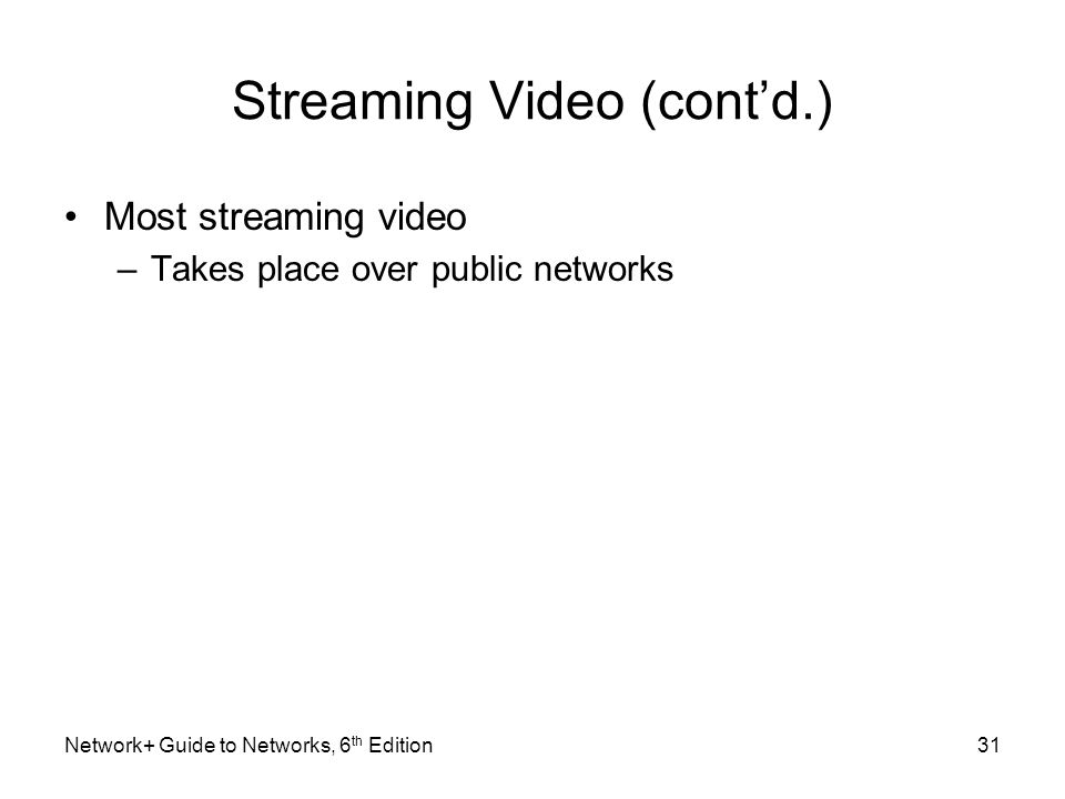 Streaming Video (contd.) Most streaming video –Takes place over public networks Network+ Guide to Networks, 6 th Edition31
