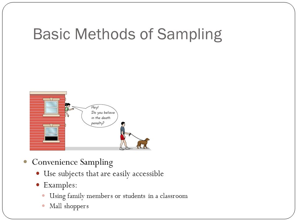 Basic Methods of Sampling Convenience Sampling Use subjects that are easily accessible Examples: Using family members or students in a classroom Mall shoppers