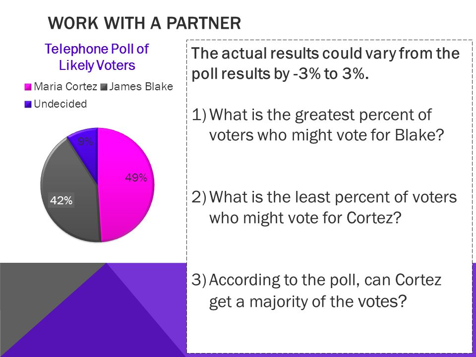 WORK WITH A PARTNER The actual results could vary from the poll results by -3% to 3%.