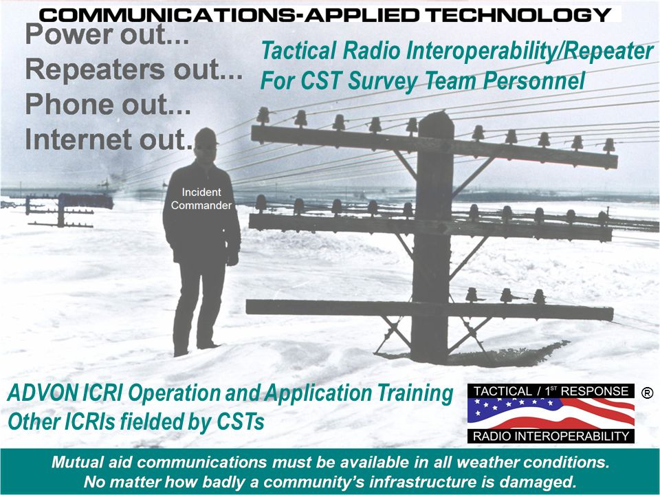 ADVON ICRI Operation and Application Training Other ICRIs fielded by CSTs ® Tactical Radio Interoperability/Repeater For CST Survey Team Personnel