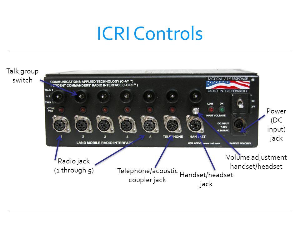 ICRI Controls Talk group switch Volume adjustment handset/headset Handset/headset jack Telephone/acoustic coupler jack Power (DC input) jack Radio jac