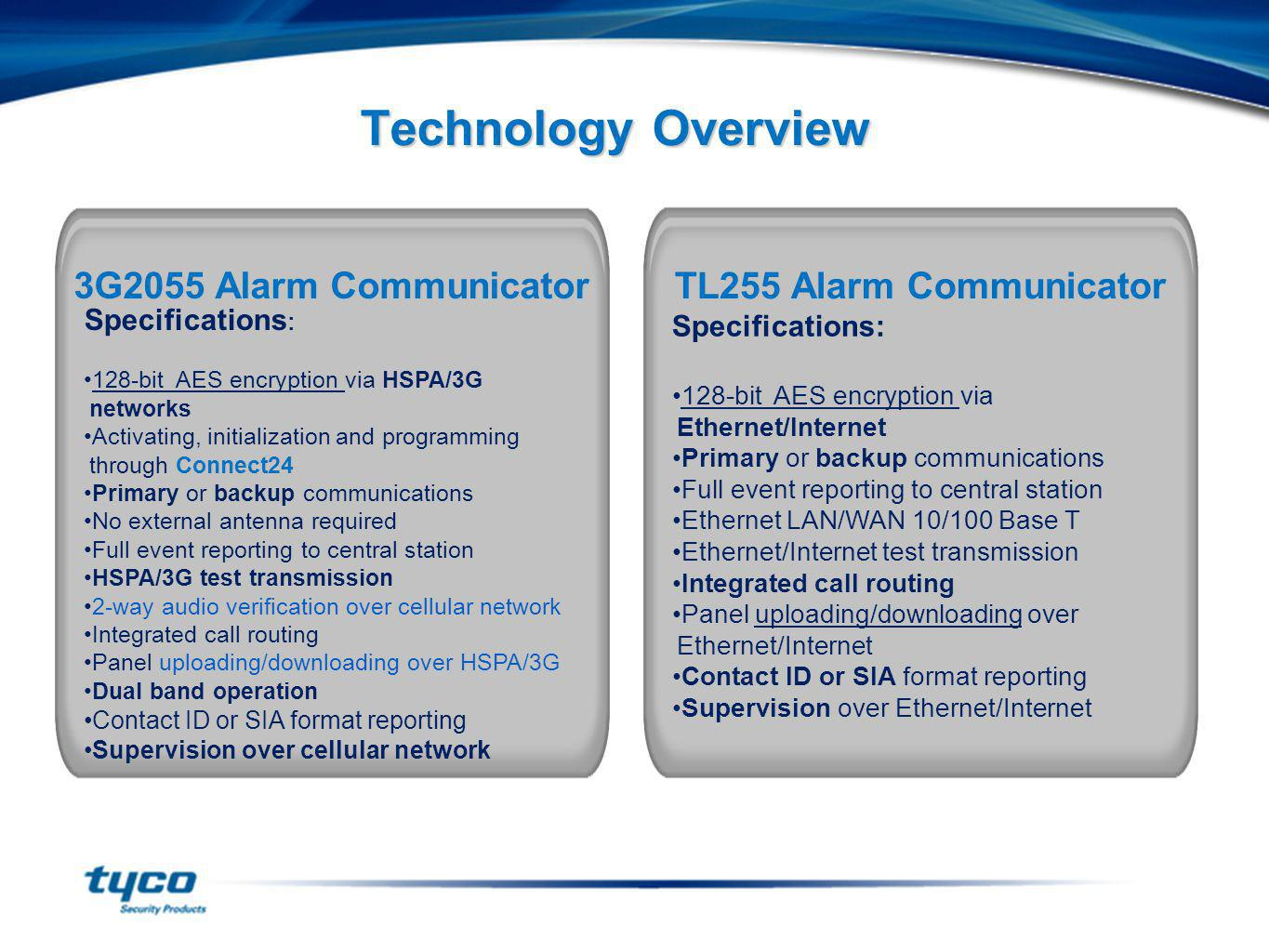 Technology Overview Specifications : 128-bit AES encryption via HSPA/3G networks Activating, initialization and programming through Connect24 Primary