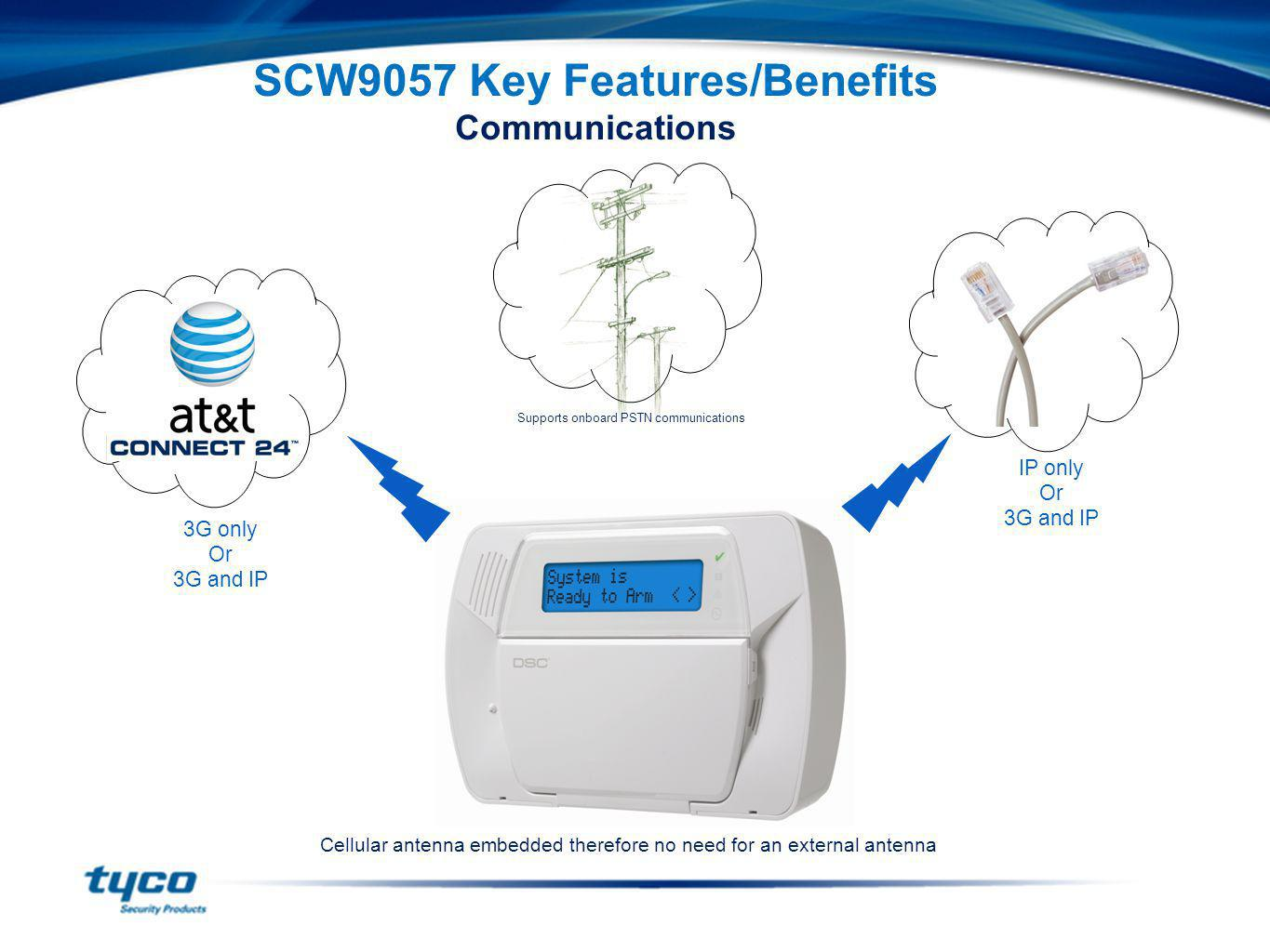 SCW9057 Key Features/Benefits Communications Cellular antenna embedded therefore no need for an external antenna Supports onboard PSTN communications